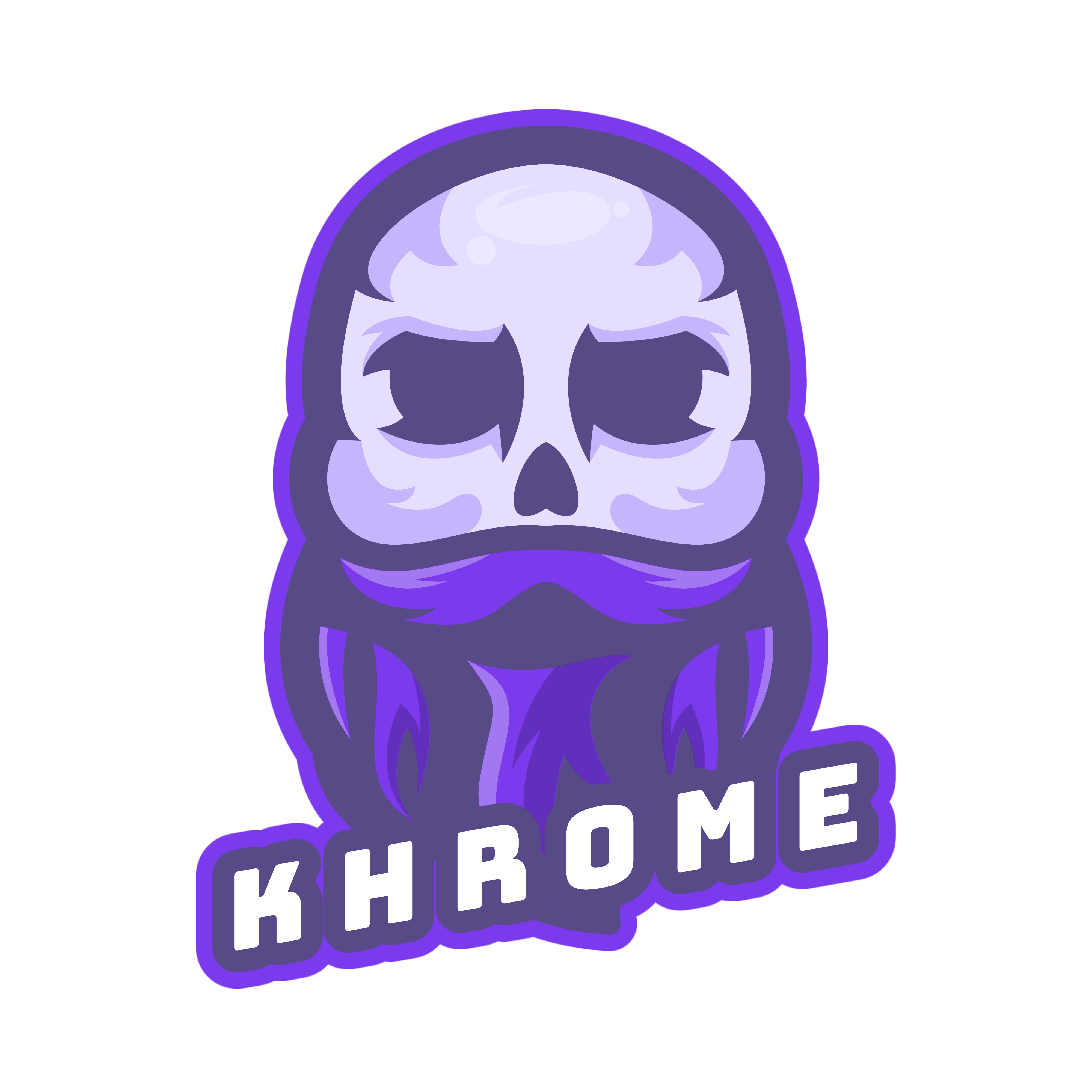 Khrome.dev logo - Bald skeleton with luscious beard in purple.